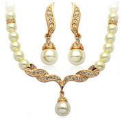 Gold Plated Tear Drop Cream Pearl and Rhinestone Crystal Bridal Necklace and earrings Jewelry Set S905499