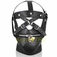 Nuevo Diseño Bondage Hood Head Mask Muzzle Harness Zipper Lock Cuero de LA PU para Hombre Mujer Nuevo Diseño Fetiche BDSM Jugar Traje