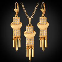 18K chapado en oro encantos colgante collar pendientes conjunto de joyas rhinestone nueva gota cuelga joyería vintage para mujeres ys3089