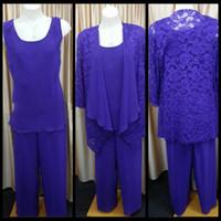 2020 Fashion Royal Blue Chiffon Plus Size Mother of the Bride Pant Trajes con chaqueta de encaje de manga larga