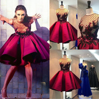 Real Image Red Ballkleider Jewel Neck Perlen Blume Applique Pailletten Abendkleid Homecoming Kristall Frühling Kurze Formale Party Kleider