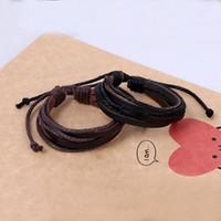 Кожаные обертки многослойные браслеты настраивают плетеный браслет браслет манжеты женщины мужчины мода ювелирные изделия будут и песчаные