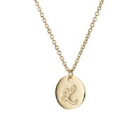 26 Buchstaben Gold überzogenes Edelstahl Initial Halskette Letters Anhänger Disc Halskette Frauen Danity Schmuck Opulente Halskette NL2600