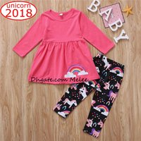 INS Baby girls clothes outfit unicorn rainbow pink T- shirt t...