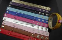 Braccialetto di cuoio del braccialetto dell'unità di elaborazione di 50PCS / lot 18 * 210mm con la barra di scorrimento di 8mm misura per i fascini delle lettere dello scorrevole di 8mm