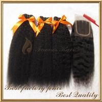 Afro Kinky Rechte grof Yaki Braziliaanse Virgin Haar 3 stks Haar Weave met 1pc Kant Top Closure Mix Lengte 8-28 Inch 4pcs Lot Gratis verzending