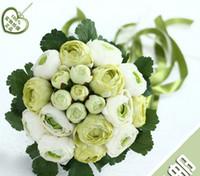 Bukiety ślubne 2015 Bride Holding Flowers Handmade Druhna Bukiet Biały Camellia Dekoracje ślubne