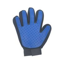 Зоосалон перчатки Кисть кота собаки Dirt волос Fur Удаление Remover Нежное Deshedding Синий правого и левого