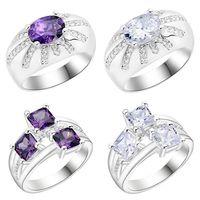 Lucky Shine piedras grandes anillo Florid Amethyst cristal 925 plata esterlina plateó los anillos Rusia American Australia Wedding Rings