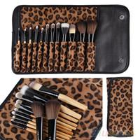 12 قطع لكل مجموعة النساء برو ماكياج فرشاة مجموعة أدوات التجميل ليوبارد حقيبة الجمال فرش كيت بواسطة dhl # 71701