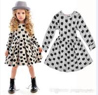 Avrupa Kız Dibe Elbiseler Yeni Bebek Pamuk Streç Siyah Kedi Desen Elbise Toptan Çocuk Butik Giyim 201504HX BY0041