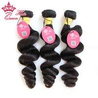 """Queen Hair Longitud mixta 12 """"-28"""" 3 unids / lote Extensiones de cabello humano Virgin peruano Color natural # 1b Ola suelta 300g / lote"""