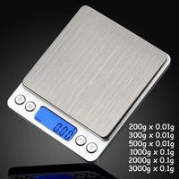 Balances de pesage de précision de poche de bijoux numériques portables Mini LCD Balances de poids d'équilibre de cuisine 500g 0.01g 1000g 200g 3000g
