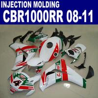Kit de carenado plástico ABS para HONDA CBR1000RR 2008-2011 CBR 1000 RR verde rojo Castrol carenado blanco 08 09 10 11 # U35