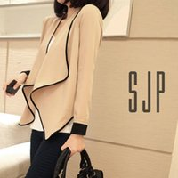 Women Stylish Slim Lapel Irregular Hem Shawl Long Sleeve Shi...
