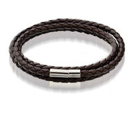 Mens Leather Bangle Bracelets Black Brown Mesh Magnetic Stai...