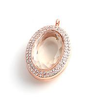 Neue Mode Halsketten pendents ovale Glas DIY Medaillon Schmuck Zubehör magnetische schwimmende Charme Kristall Medaillons