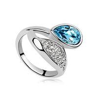Новое прибытие корейский стиль кольцо лист падение Австрия Кристалл открытое кольцо с покрытием драгоценный камень KC золото обручальные кольца бесплатная доставка
