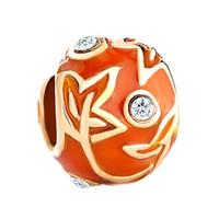 Персонализированные женщина ювелирные изделия большое отверстие Европейский цвет эмалированные пасхальное яйцо кленовый лист металлический шарик lucky charms подходит Pandora браслет