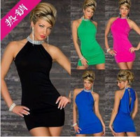 Verde rojo negro azul fibra de poliéster Lencería sexy, talla M Mujeres sin mangas Condole cinturón Falda Mini vestido