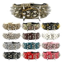 2 inch Dog Collars Leather Spiked Studded Dog Collar For Pit...