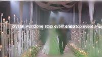 새로운 우아한 도매 결혼식 통로 장식 금속 기둥 / 결혼 꽃 기둥 / 결혼 산책로 결혼식 크리스탈 기둥