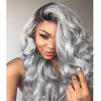 Горячие бразильские омбре серые полные кружева человеческие волосы парики волос волнистые серебряные серые блестящие передние кружевные парики 130% плотность с обесцвеченными узлами серый парик