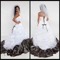 Robe de mariée Camo 2018 Sweetheart dentelle à lacets de lacets sans manches sans manches une ligne Satin longueur de plancher Vestidos de novia princesa