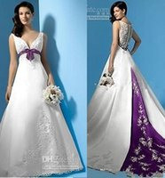 best selling white and purple satin a line wedding dresses empire waist v neck beads appliques bow 2015 bridal gowns custom made new design