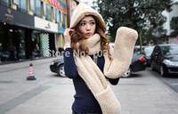 Sciarpa invernale Wholesale-2015 New Fashion 3 in1 speciale donna coreana bella con doppio strato di sciarpe in pile di corallo con cappelli e guanti
