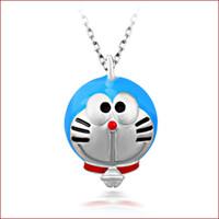 Бесплатная доставка оптовых романтический шарм простой синий цвет формы кулон ожерелье Doraemon мальчик девочка новый подарок стерлингового ювелирные изделия бижутерия кулон ожерелье