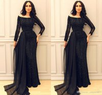 Sparkly Black Long Sleeve Prom Pageant Dresses 2017 Modest M...