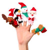 5 unids / set marionetas de dedo juguetes navidad santa claus muñeco de nieve historias de bebés ayudante dedos niños regalo de navidad