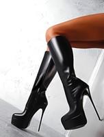 Heißer Verkauf Sexy Trendy Schwarz Stiefel für Frauen Rabatt Winter Stiefel Schwarz PU Leder Beste Design Stiefel Kniestiefel
