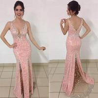 2018 Sparkly Luxuoso Árabe Vestidos de Baile Com Decote Em V Cristais Sereia Lantejoulas Vestidos de Noite Sexy Longo Formal Vestidos