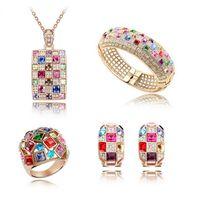 Luxuriöse Königin-Halsketten-Ohrring-Armband-Ring-Sätze Neueste Art- und Weisekristallschmucksache-Sätze 18KGP Hochzeits-Schmucksache-Set für Frauen SET-00030