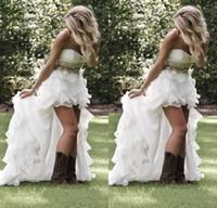 Summer Garden Beach High Low abiti da sposa con perline di cristallo sweetheart abiti da sposa low back ruffles bling abiti da sposa di alta qualità