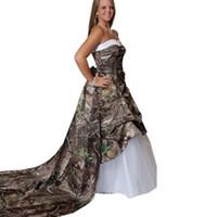 2015 Modest Unique Plus Size Camo Vestidos de novia Sweetheart Lace up Back Tiers Tulle Tren desmontable Realtree Novias vestido de bola
