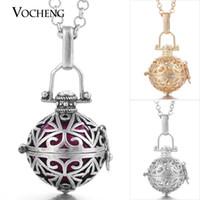 VOCHENG الكرة الوئام النحاس سلسلة قلادة الحمل الكرة قفص قلادة قلادة مع الفولاذ المقاوم للصدأ سلسلة VA-060