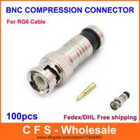 BNC разъем мужской сжатия коаксиальный кабель RG6 CCTV разъемы BNC изоляции разъем Бесплатная доставка 100 шт.