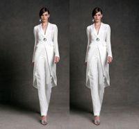 Plus Size Mère De La Mariée Pantalon Costumes Avec Des Vestes Vêtements De Soirée Blanc Élégant À Manches Longues Marié Marié Mères Soirée Formelle Pantalon Costume Personnalisé