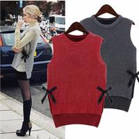 Suéter 2015 nuevo otoño invierno moda mujer suéter arco suelto sin mangas suéter chaleco Tops Casual Pull Femme Plus tamaño FG1511