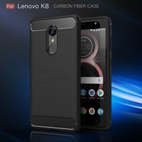 Carbon Fiber Case Pour Lenovo K8 K8 Remarque luxe Texture brossé silicone souple en caoutchouc couverture arrière mince Armure robuste peau