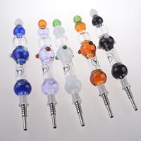 NC con GR2 titanio de uñas Concentrado NC aceite Kit de tubo de vidrio de color reciclador de agua Bongs limanda