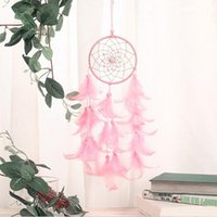 Pink Feathers Wind Chimes with Bead Handmade Indian Dreamcat...