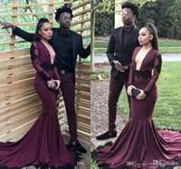 Burgundy Mermaid Long Sleeves Prom Dresses 2018 New Sexy Bac...