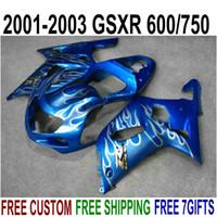 7ギフト+ New ABSフェアリングキット鈴木GSX-R600 GSX-R750 2001-2003 K1 GSXR 600 750白い炎Blue Fairingsセット01-03 RA59