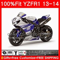 Corps d'injection pour YAMAHA YZF 1000 Argent bleu YZF R 1 YZF-1000 YZF-R1 13 14 86NO26 YZF1000 YZFR1 13 14 YZF R1 2013 2014 Kit de carénage 100% Fit