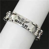 1 pc Livraison Gratuite Date Conception Vélo Crâne BIKER Bracelet En Acier Inoxydable 316L Bande Parti Crâne Biker Style Bracelet