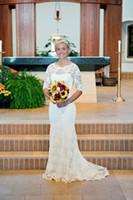 2015 vestidos de noiva de renda romântica com mangas meia vestido de noiva A linha trem da varredura voltar oco Vintage vestidos de noiva